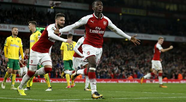 Arsenal's Eddie Nketiah has scored twice for the England Under-21s in France (Paul Harding/PA)