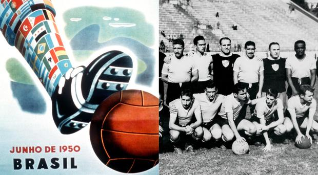 A 1950 World Cup poster and the Uruguay football team (Peter Robinson/EMPICS Sport, EMPICS Sport)
