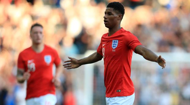 Marcus Rashford, right, scored a spectacular goal for England against Costa Rica (Mike Egerton/PA)