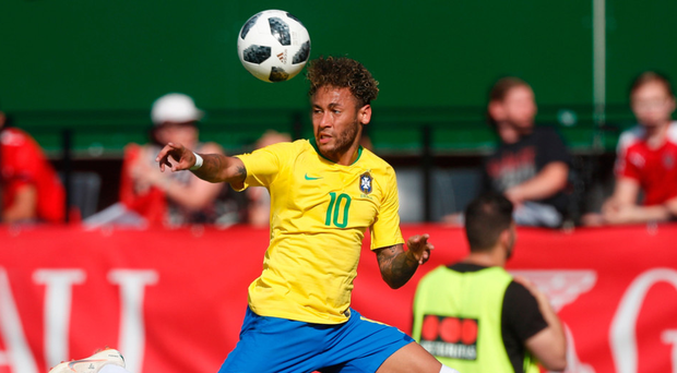 Scintillating strike: Neymar scored against Austria, as did Gabriel Jesus and Philip Coutinho, as Brazil warmed up for the World Cup in Russia