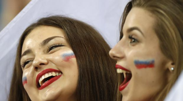 Russian fans shout during the quarterfinal match between Russia and Croatia at the 2018 soccer World Cup in the Fisht Stadium, in Sochi, Russia, Saturday, July 7, 2018. (AP Photo/Darko Bandic)