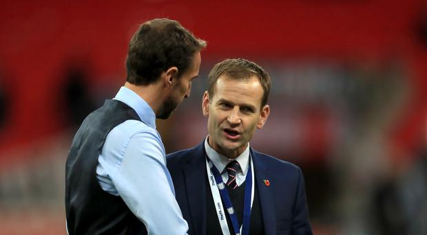 England manager Gareth Southgate (left) speaks to FA technical director Dan Ashworth (Mike Egerton/PA)