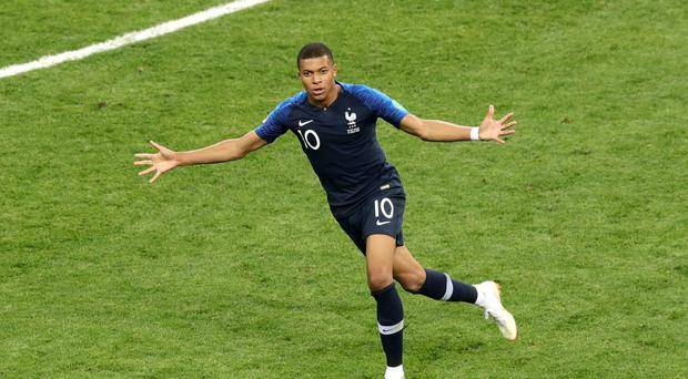 Kylian Mbappe celebrates his goal in the World Cup final (Aaron Chown/PA)