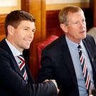 Rangers manager Steven Gerrard (left) with chairman Dave King
