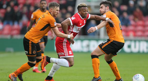Wolves get their man as Adama Traore, centre, leaves Middlesbrough for Molineux (Richard Sellers/PA)