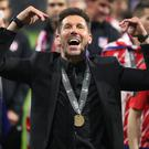 Diego Simeone led Atletico to victory from the stands (Nick Potts/PA)