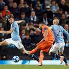 Lyon's Nabil Fekir scores his side's second goal of the game against Manchester City.