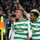 Leigh Griffiths celebrates late winner against Rosenborg (Andrew Milligan/PA)