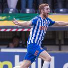 Stuart Findlay celebrates his late winner for Kilmarnock (Jeff Holmes/PA)