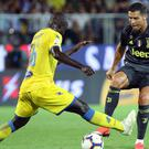 Cristiano Ronaldo, right, takes on Frosinone's Joel Campbell (Federico Proietti/AP)