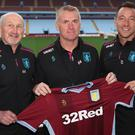 Aston Villa manager Dean Smith with coaches Richard O'Kelly and John Terry at Villa Park (Mike Egerton/PA)