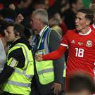 Harry Wilson, centre, celebrates his winner (Liam McBurney/PA)