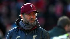 Liverpool manager Jurgen Klopp during the Premier League match at Anfield, Liverpool.