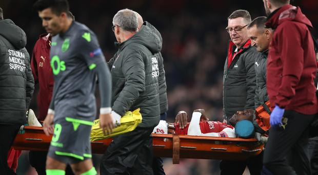 Danny Welbeck was stretchered off against Sporting (Nick Potts/PA)