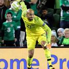 Republic of Ireland goalkeeper Darren Randolph during the UEFA Nations League, League B, Group four match at The Aviva Stadium, Dublin
