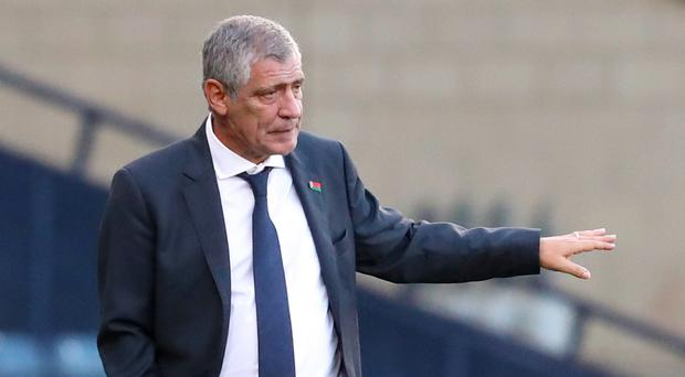 Fernando Santos was not impressed by his side's first-half performance in Italy (Jane Barlow/PA)