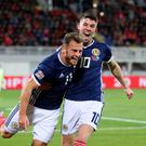 Upbeat: Ryan Fraser (left) and team-mate Ryan Christie