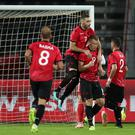 Albania's Bekim Balaj (centre right) netted from the penalty spot (Adam Davy/PA)