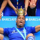 Chelsea's Didier Drogba celebrates with the lid of the Premier League trophy (Mike Egerton/PA)
