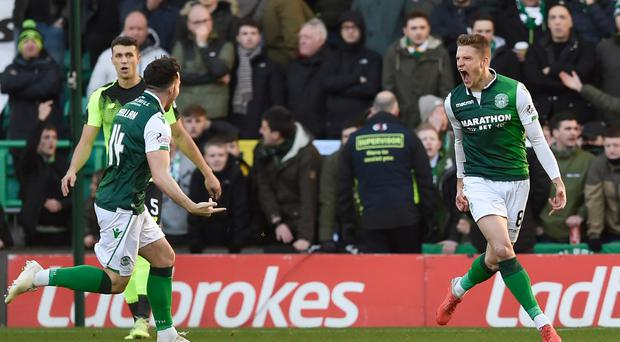 Vykintas Slivka scored an early opener as Hibernian beat Celtic (Ian Rutherford/PA)
