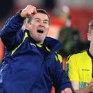 Manager Nigel Clough, left, celebrates Burton's Carabao Cup quarter-final victory at Middlesbrough (Owen Humphreys/PA)