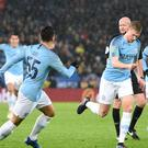 Manchester City's Kevin De Bruyne (second right) opened the scoring before penalties. (Joe Giddens/PA)