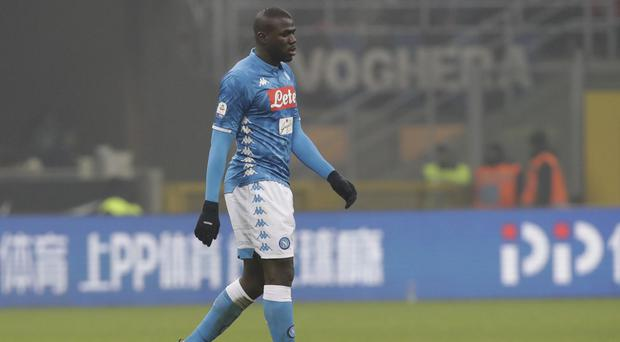 Napoli defender Kalidou Koulibaly was sent off late on against Inter Milan (Luca Bruno/AP)