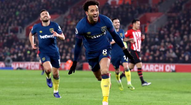 Felipe Anderson scored both of his side's goals as West Ham won 2-1 at Southampton (Andrew Matthews/PA)