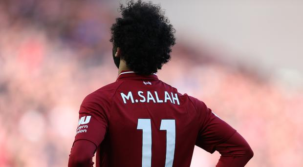 Liverpool's Mohamed Salah during the Premier League match at Anfield, Liverpool