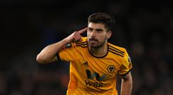 Wolves' Ruben Neves celebrates his goal against Liverpool (Nick Potts/PA)
