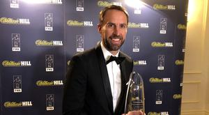 England manager Gareth Southgate is presented with the Football Writers� Association Tribute Award at The Savoy hotel, London.