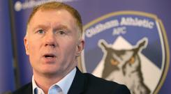 Former Manchester United midfielder Paul Scholes has taken his first job in management at League Two side Oldham (Barrington Coombes/PA)