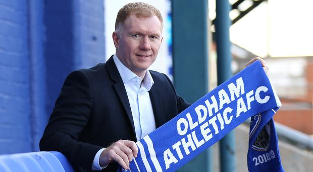 Paul Scholes at his unveiling as Oldham manager (Barrington Coombs/PA)