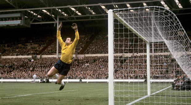 Gordon Banks in action for England against Hungary (PA)