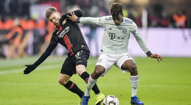 Kingsley Coman could miss Bayern Munich's Champions League clash with Liverpool (Martin Meissner/AP)