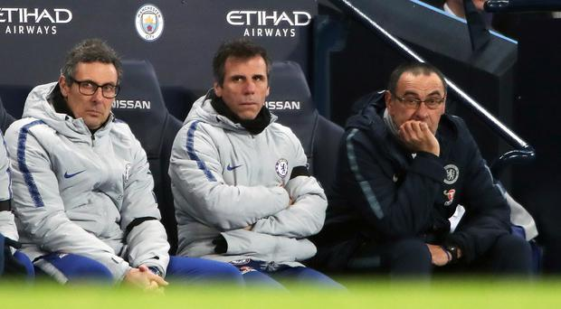 Gianfranco Zola, centre, saw Chelsea hammered by Manchester City (Nick Potts/PA)
