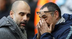Zola believes Maurizio Sarri (right) needs time to succeed just as Guardiola (left) was afforded at Manchester City (Martin Rickett/PA)