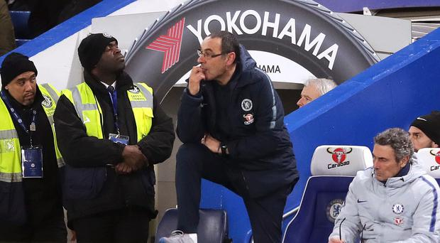 Chelsea manager Maurizio Sarri watched on as his side lost to Manchester United (Adam Davy/PA)