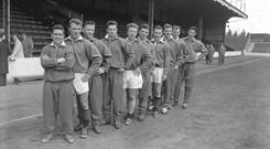 Eric Caldow (sixth from the left) on Scotland duty (PA)