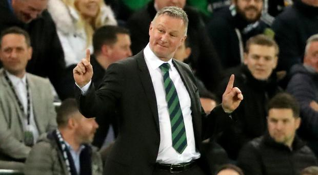 Michael O'Neill was able to enjoy victory over Estonia on Thursday night (Niall Carson/PA)