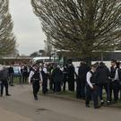 Police arrested one man following a search of a PSG supporters' coach at Kingsmeadow. (@nadderley/Twitter/Press Association Images)