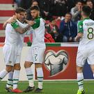 Republic of Ireland's Jeff Hendrick (left) celebrates shis goal with team-mates (Simon Galloway/PA)