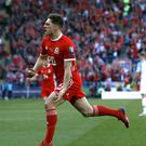 Wales' Daniel James celebrates after scoring against Slovakia (Darren Staples/PA)