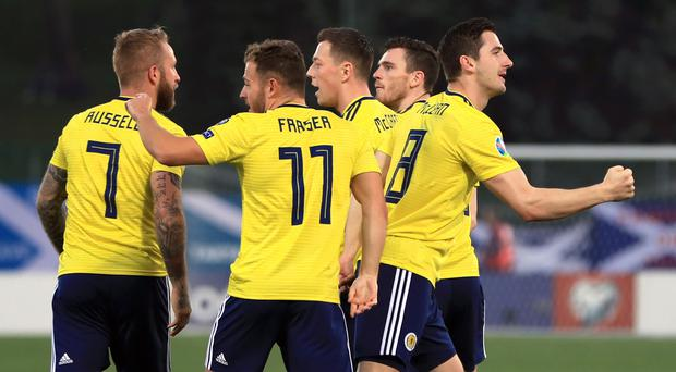 Kenny McLean, far right, scored an early opener for Scotland (Simon Cooper/PA)