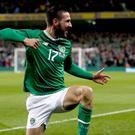 Republic of Ireland's Conor Hourihane celebrates scoring his side's first goal of the game during the UEFA Euro 2020 Qualifying, Group D match at the Aviva Stadium, Dublin.