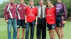 Ole Gunnar Solskjaer, third left, was among five new signings for Manchester United in July 1996 (Dave Kendall/PA)