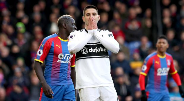 Fulham's Aleksandar Mitrovic shows his frustration after a missed chance (Jonathan Brady/PA)