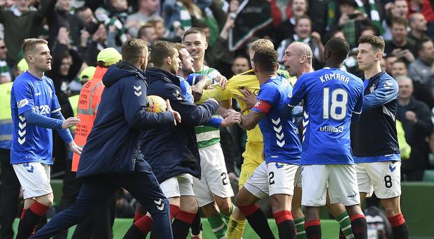 Celtic and Rangers face fines over these post-match scenes (Ian Rutherford/PA)