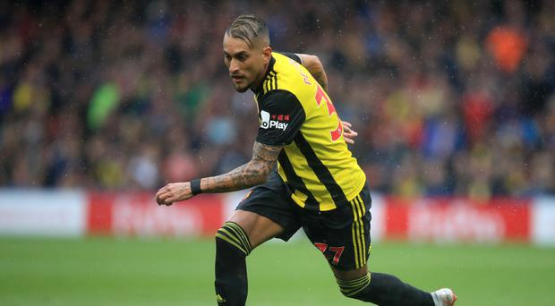 Watford's Roberto Pereyra is a doubt to face Wolves (Adam Davy/PA)
