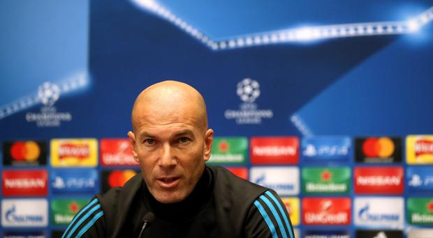 Zinedine Zidane was unhappy with whistles directed at Gareth Bale (Adam Davy/PA)